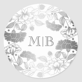 Vintage Silver Floral Wreath Elegant Wedding Classic Round Sticker