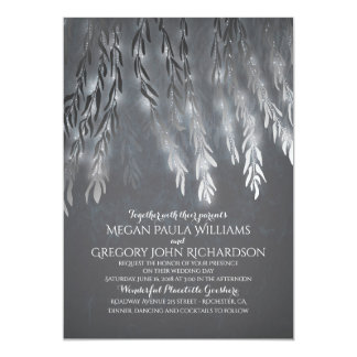 Vintage Silver Foil Effect Willow Tree Wedding Card