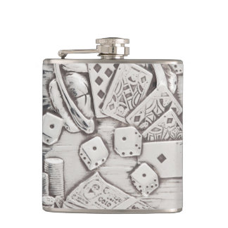 Vintage Silver Gambling Poker Cards Dice Las Vegas Hip Flask