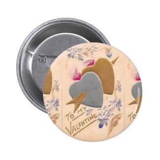 Vintage Silver & Gold Hearts Valentine Postcard 2 Inch Round Button