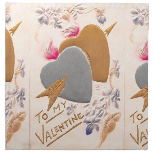 Vintage Silver  Gold Hearts Valentine Postcard Napkin