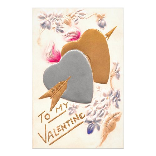 Vintage Silver  Gold Hearts Valentine Postcard Stationery