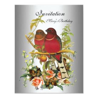 Vintage Silver Invitation flowers Birds