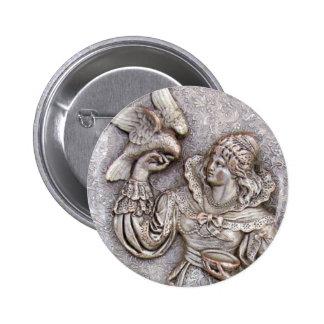 Vintage Silver Maiden Bird Costume Jewelry Brooch Button