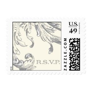 Vintage Silver plume RSVP stamp