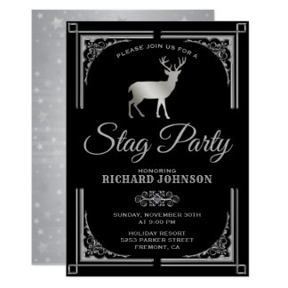 Vintage Silver Stag Bachelor Party Invitation