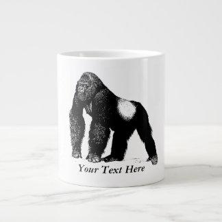 Vintage Silverback Gorilla Illustration, Black Giant Coffee Mug