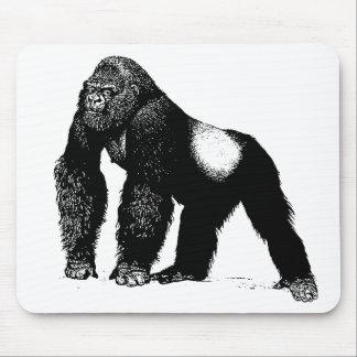 Vintage Silverback Gorilla Illustration, Black Mouse Pad