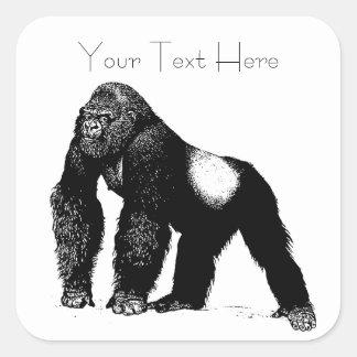 Vintage Silverback Gorilla Illustration, Black Square Sticker