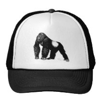 Vintage Silverback Gorilla Illustration, Black Trucker Hat