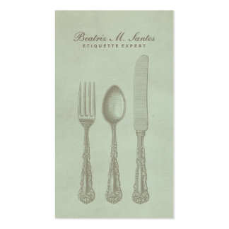 Vintage Silverware Cool Fork Spoon Knife Simple Double-Sided Standard Business Cards (Pack Of 100)