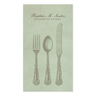 Vintage Silverware Cool Fork Spoon Knife Simple Business Card Template