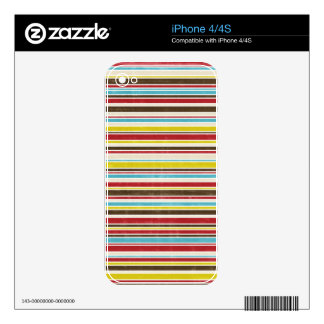 Vintage Simple Color  Paper Horizontal Stripe Decal For The iPhone 4S