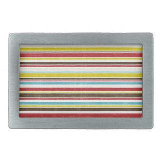 Vintage Simple Color  Paper Horizontal Stripe Rectangular Belt Buckle
