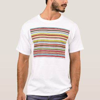 Vintage Simple Color  Paper Horizontal Stripe T-Shirt