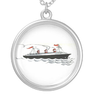 Vintage Simple Ship Illustration Silver Plated Necklace