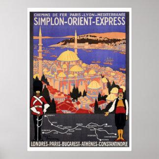 Vintage Simplon Oriente Londres expreso Póster