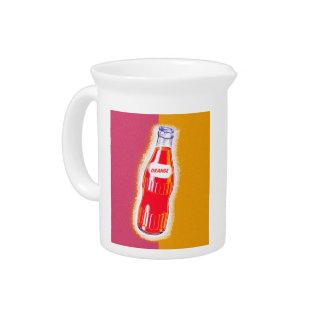 Vintage Sinas Orange Soda Pop Bottle Illustration Beverage Pitcher