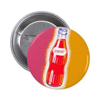 Vintage Sinas Orange Soda Pop Bottle Illustration Button