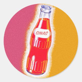 Vintage Sinas Orange Soda Pop Bottle Illustration Classic Round Sticker