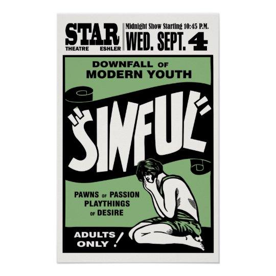 "Vintage ""Sinful"" Movie Poster"