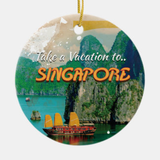 Vintage Singapore Vacation Poster. Double-Sided Ceramic Round Christmas Ornament