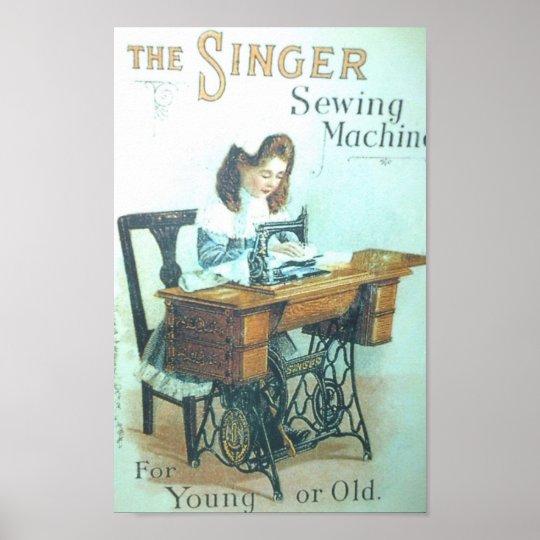 Vintage Singer Sewing Machine Poster