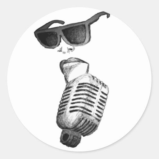 vintage singer vector round sticker