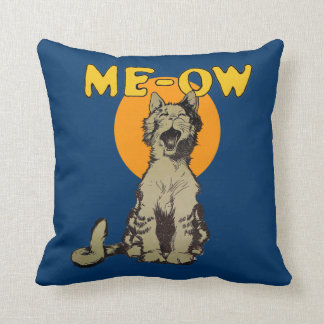 Vintage Singing Alley Cat Throw Pillow