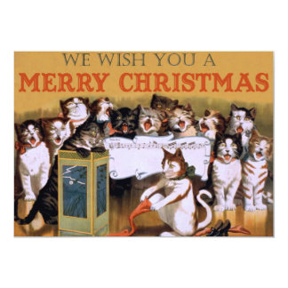 Vintage Singing Cats Christmas Greeting Card