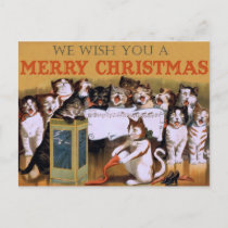 Vintage Singing Cats Christmas Greeting Holiday Postcard