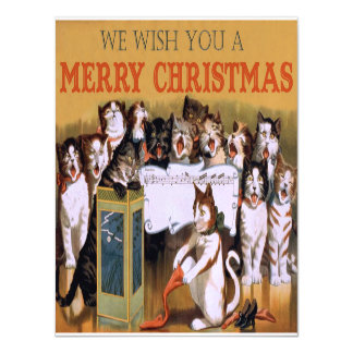 Vintage Singing Cats Christmas Greeting Magnetic Card