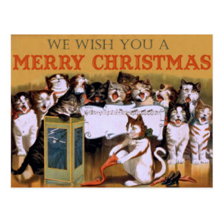 Vintage Singing Cats Christmas Greeting Postcard
