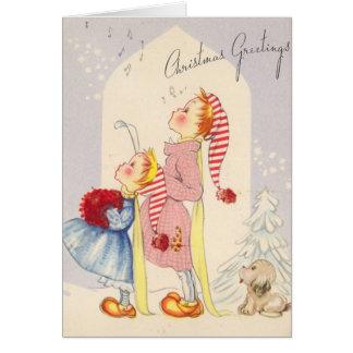 Vintage Singing Children Christmas Greeting Card