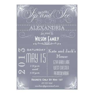 Vintage Sip and See Invitation