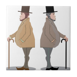 Vintage Sir with a Stick Vector Ceramic Tile