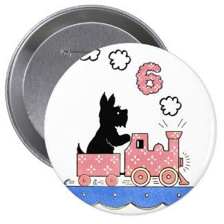 Vintage Six Year Old Girls Birthday Round Button