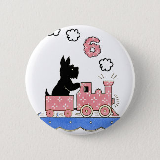 Vintage Six Year Old Girls Birthday Round Button