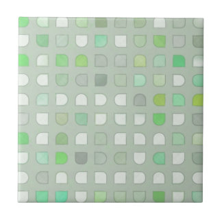 Vintage Sixties Retro Linen Fabric Polka Squares Tile