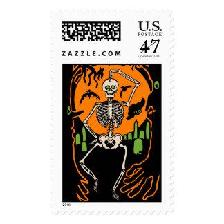 Vintage Skeleton Dancing In A Graveyard Postage