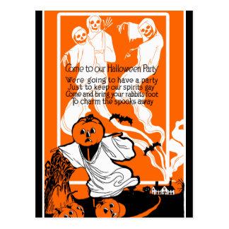 Vintage Skeleton Ghost Greeting Postcards