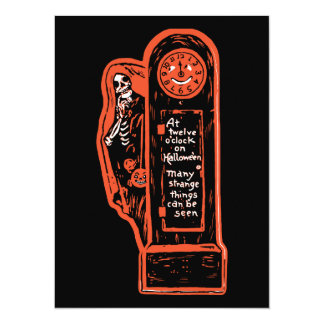 Vintage Skeleton Grandfather Clock Personalized Announcements