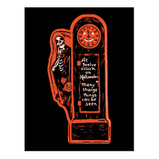 Vintage Skeleton Grandfather Clock Postcard