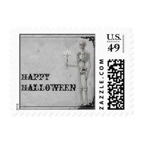 Vintage Skeleton Halloween Postage