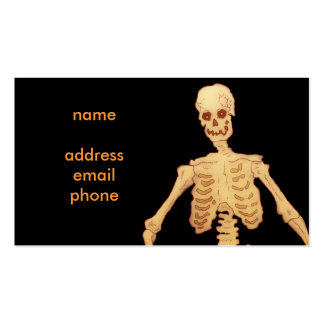 Vintage Skeleton Holding a Stick and Pumpkin Double-Sided Standard Business Cards (Pack Of 100)