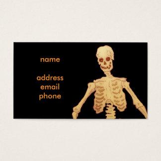 Vintage Skeleton Holding a Stick and Pumpkin Business Card