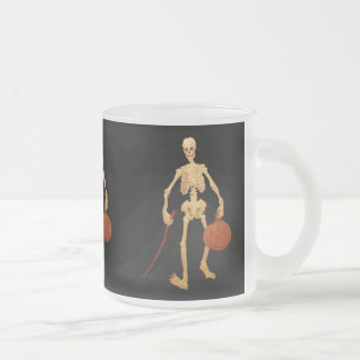 Vintage Skeleton Holding a Stick and Pumpkin Frosted Glass Coffee Mug