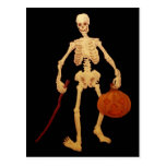 Vintage Skeleton Holding a Stick and Pumpkin Post Card