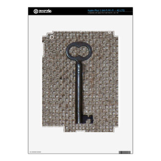 Vintage Skeleton Key on Burlap iPad 3 Decal