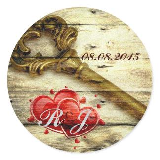 vintage skeleton key victorian steampunk wedding classic round sticker